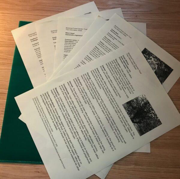 Tree info sheets